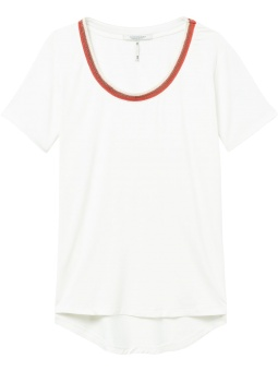 Regular fit tee with striped neck tape