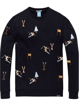 Crewneck sweat with all-over ski embroideries