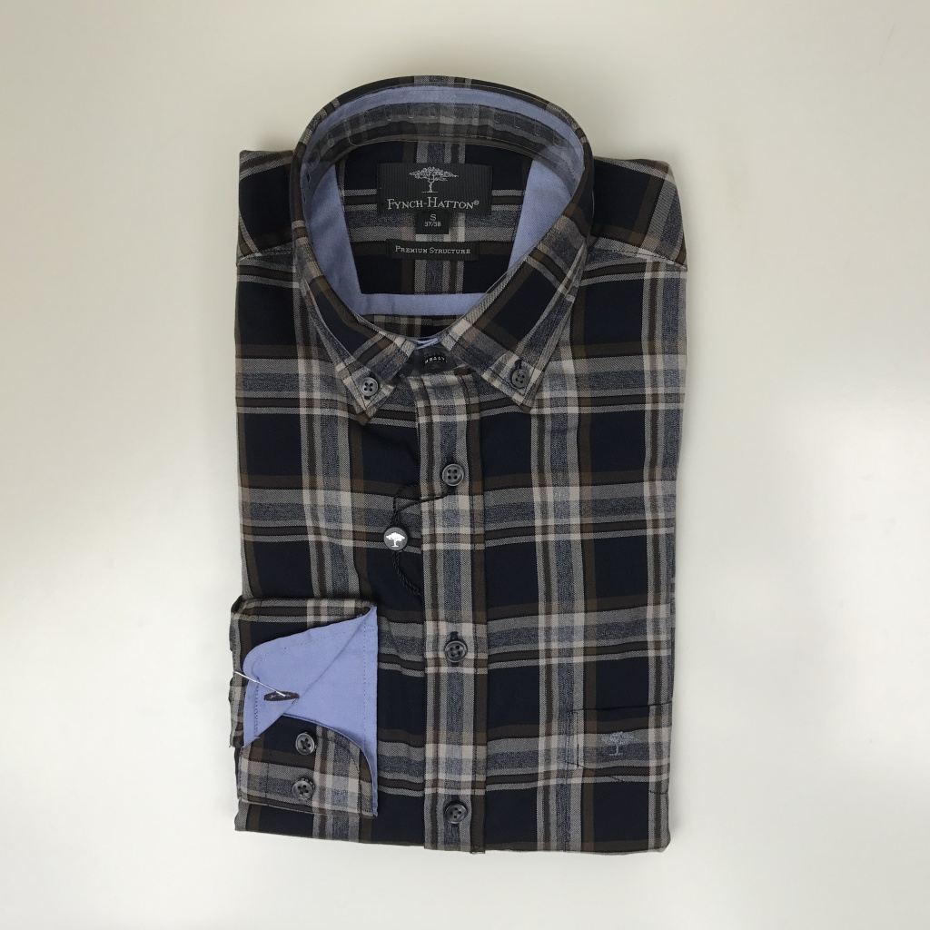 Fynch Hatton, Soft combi check structure shirt