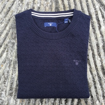 Gant, textured cotton crew