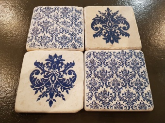 Coaster Damask Blue