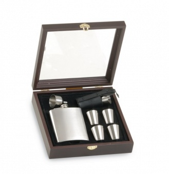 Flask Set med 8 muggar