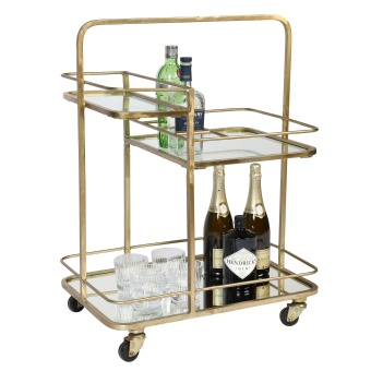 drinkvagn - Lanesborough Three Tier Drinks Trolley - gold