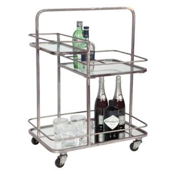 Lanesborough Three Tier Drinks Trolley - Silver Finnish