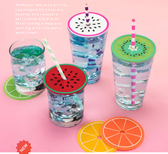Tropical Fruit Drink Lid Coasters