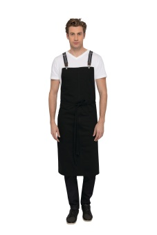 BERKELEY Chef BiB Black - grå hängslen
