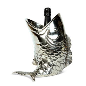 Antique Silver Fish Bottle Holder