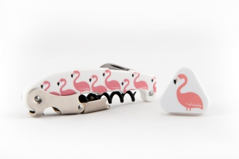 Flamingo Set corkscrew and winestopper