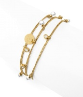 Liz multi charm bracelet, pearl gold
