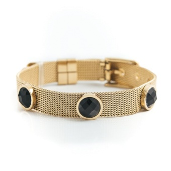 Adele crystal bracelet, Black gold