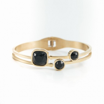 Belle crystal bracelet, Black gold