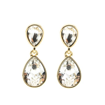Glam double drop earring, Crystal gold