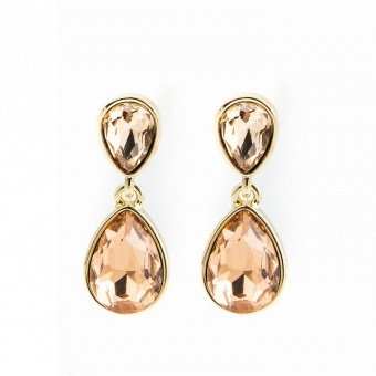 Glam double drop earring, Champagne gold