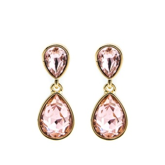Glam double drop earring, Vintage rose gold