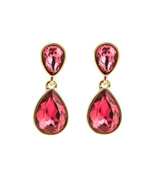 Glam double drop earring, Fuchsia gold