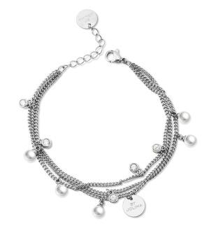 Liz multi charm bracelet, pearl silver