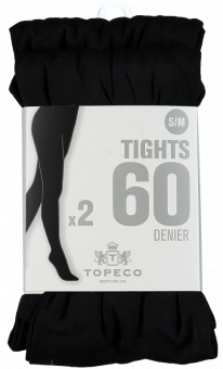 TIGHTS 2P SOLID 60 DENIER