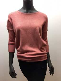 KNIT BLOUSE W RIB SL