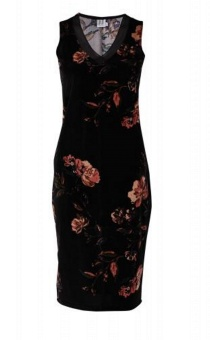 FLOWER P. DRESS W. DRAPED HEM