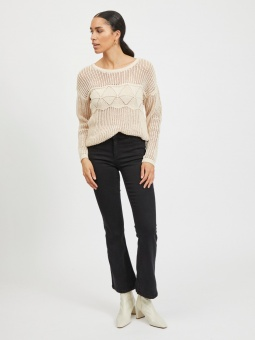 VILELAS L/S O-NECK PATTERN KNIT TOP