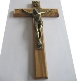 Benedictus-krucifix, 25cm, olivträ/mässing