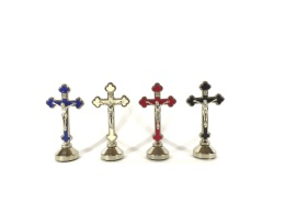 Krucifix-magnet, blå, stående