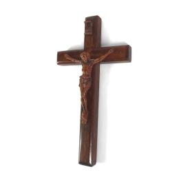 Krucifix-magnet, mahogny, liggande