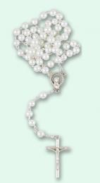Rosenkrans vit glas, runda pärlor