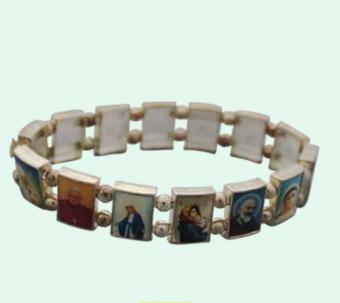 Helgon-armband, enkelt silvrigt