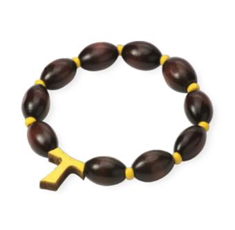 Armband m Tau-kors, gul, oval