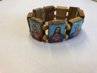 Helgonarmband, olivträ, Jesu & Marie hjärta, från Israel