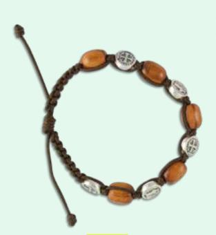 Armband. oliv + benedictusmedaljer
