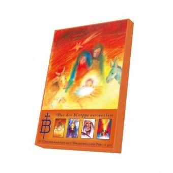 8 dubbla färgglada julkort m kuvert, box
