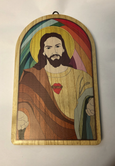 Jesu Hjärta-tavla, trä, valvformad