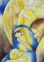 Heliga familjen med ängel