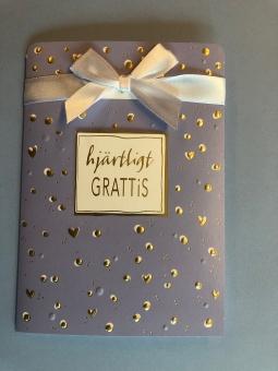 Hjärtligt GRATTIS, ljusblå m guldprickar