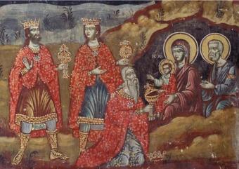 Vise männens tillbedjan (Bysantinsk fresk)
