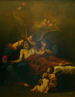 Hl. Josefs död, med Jesus, Maria och änglar (A6)