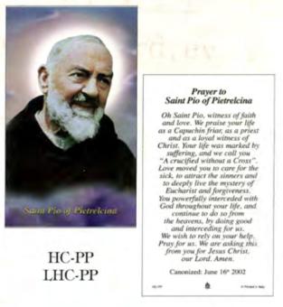 Bönekort, Padre Pio (eng.)