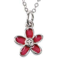 Blomma, röd med kors i, tenn, inkl kedja