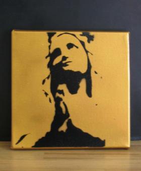 Lourdesmadonnan, guldfärgad + svart