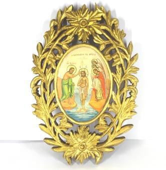 Jesu Dop, oval träram (23x33), äkta ikon
