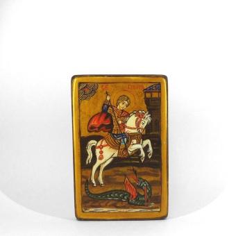 St Göran och draken, naiv, äkta ikon