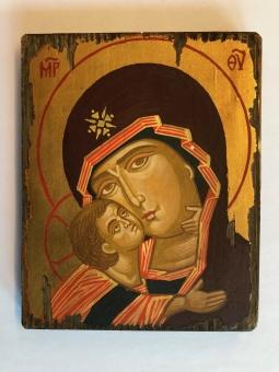 """Ömhetens Gudsmoder (15x19), """"sliten"""" äkta ikon"""