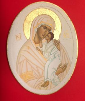 Maria & Jesusbarnet (äkta ikon), oval