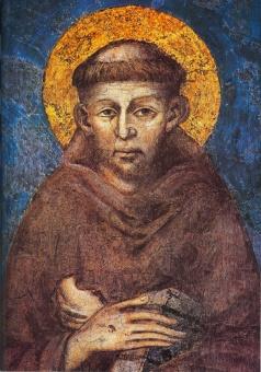 Franciskus av Assisi, enl Cimabue (handmålad)