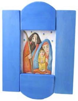 Heliga familjen, blå, snidad&målad