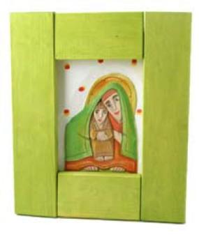 Maria m Jesusbarnet, grön, snidad&målad