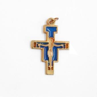 Halssmycke San Damiano-kors, blått