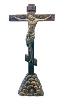 Ikonkrucifix, stående, stort, gips